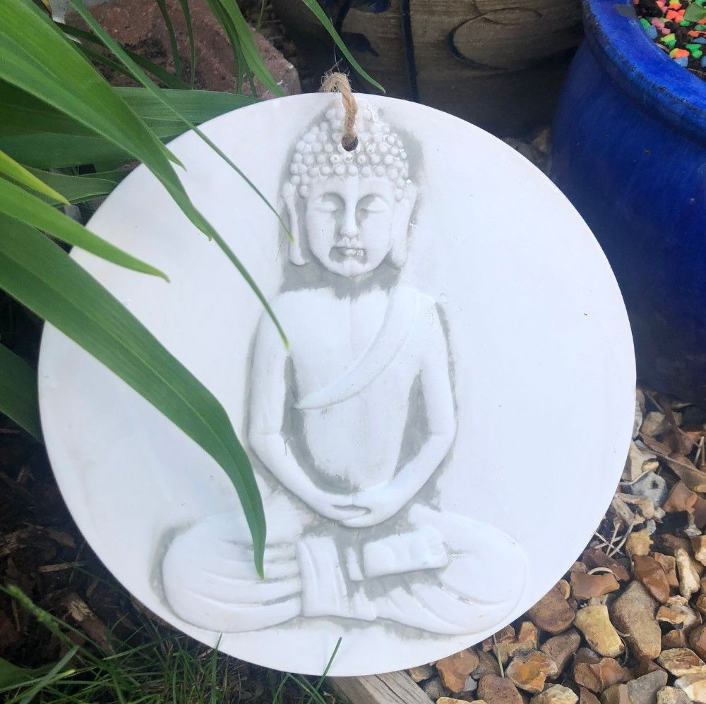 Buddha Terracotta Hanging  Home or Garden Wall Plaque 22.5 cm